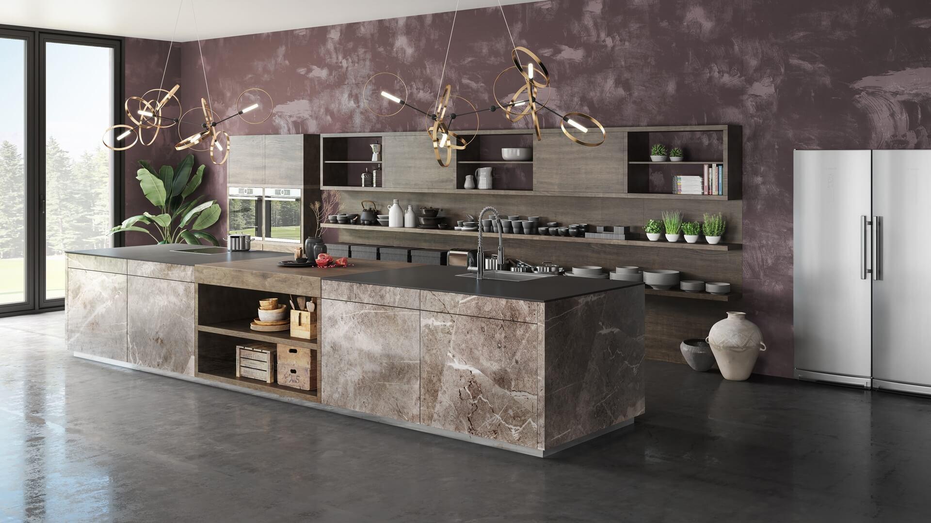 Designküche mit zweifarbig abgestimmter Arbeitsplatte