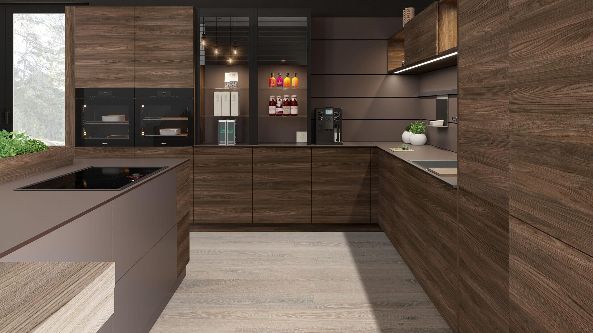 Moderne Küche als Küchenzeile mit Holzdekor