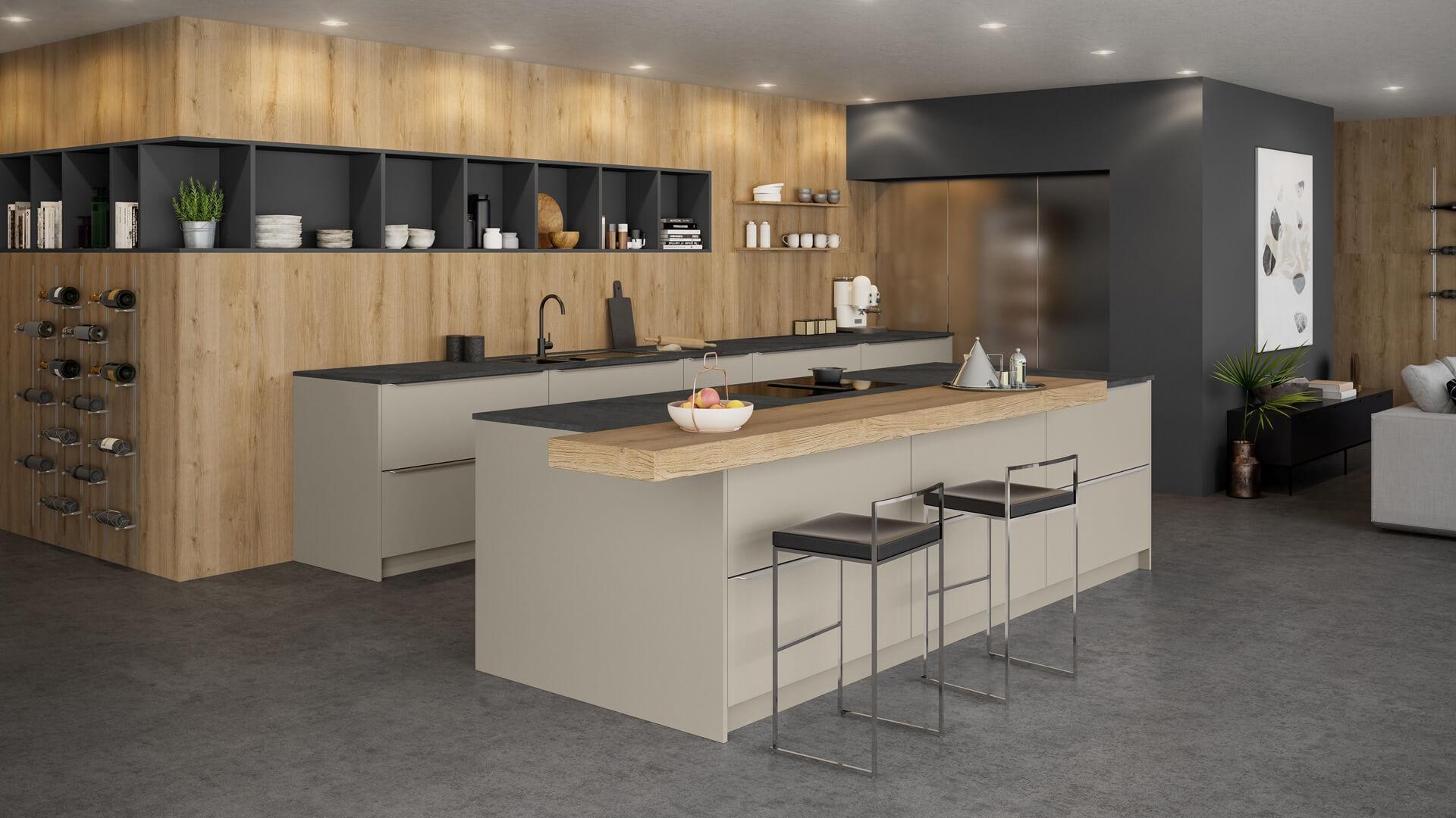 Große, offene Single-Küche oder Wohnküche.