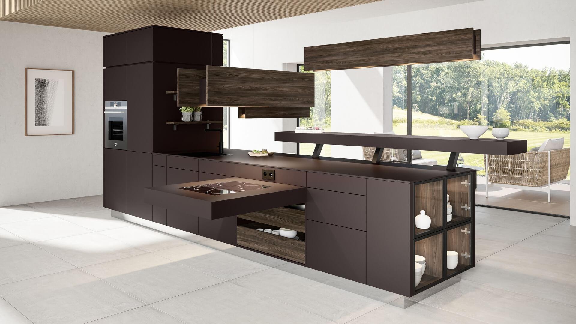 Frei stehende Kücheninsel in Mattlack mit Echtholz-Elementen